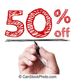 50 percent off - Hand with pen is writing the text 50...