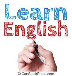 Learn English - Hand with pen is writing the text Learn...