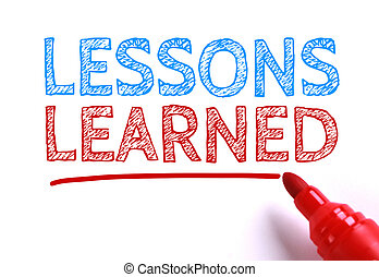 Lessons learned - Text Lessons learned with red marker aside...