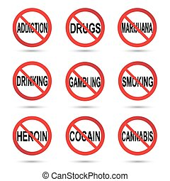 No drugs, smoking and alcohol sign.
