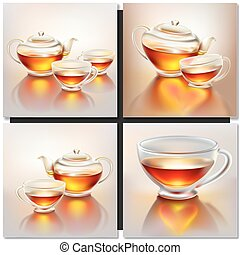 Glass teapot and cup with tea