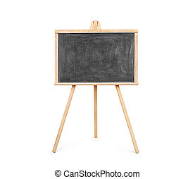 Blank art board, wooden easel, front view, isolated on...