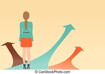 Business woman standing on the arrow with many directions...