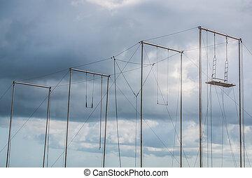 Ao ar livre, trapeze.,