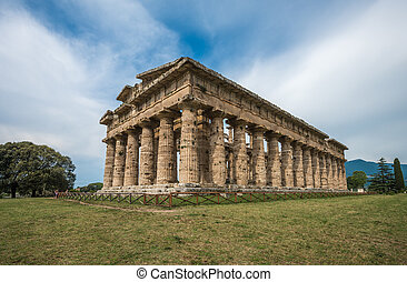 Second temple of Hera at Paestum archaeological site, one of...
