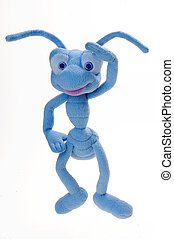 Ant - Blue plush toy ants on a white background...