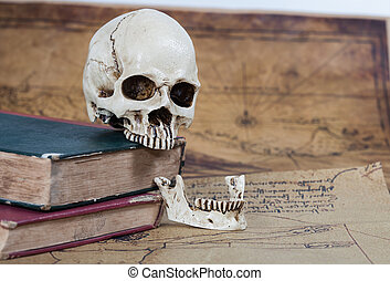Human Skull and old text book on Old map Background
