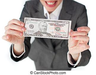 close-up, executiva, segurando, Dinheiro