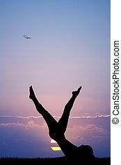 pilates at dawn - illustration of pilates at dawn