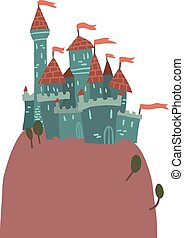 Cartoon Castle on a Hill flat icon - The vector illustration...