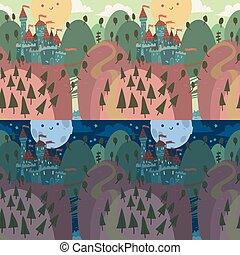 Cartoon Castle on a Hill - The vector illustration of...