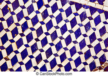 abstract morocco in africa tile blue background texture -...