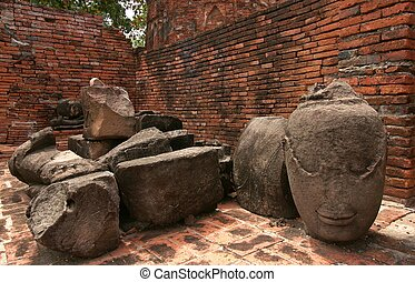 Buddha old parts at Wat Mahathat, archaeological sites and...