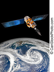 Space satellite over the planet earth - Space satellite...