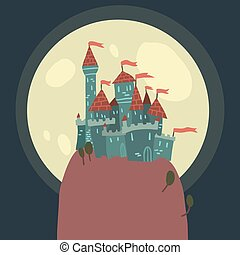 Cartoon Castle on a Hill flat icon. - The vector...