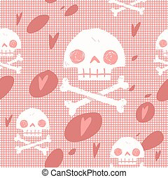Pirate skull flag party card seamless background.