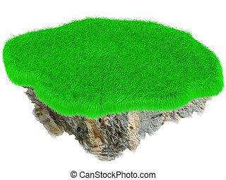 Little flying grass island. Empty lawn. 3D render.