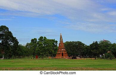 stupa at Wat Mahathat - AYUTTHAYA-THAILAND : 9 August 2015...