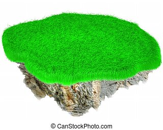 Little flying grass island Empty lawn 3D render