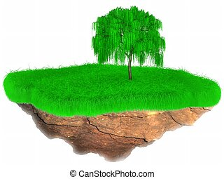 Little flying grass island with a tree. - 3D Little flying...