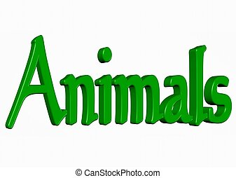 Animals word - Word 3D isolated backround
