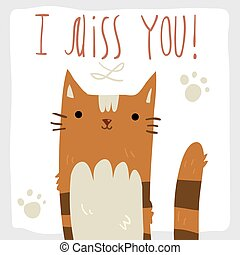I Miss You postcard. - Vector hand drawn illustration of...