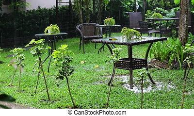 summer rain in cafe