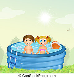 children in inflatable pool
