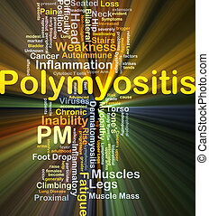 Polymyositis PM background concept glowing
