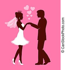 Wedding day - Silhouettes of the bride and groom hold each...