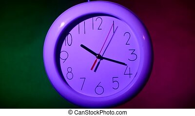 lilac Clock on color wooden plank wall, night - lilac Clock...