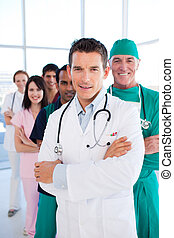 International medical group standing in a row