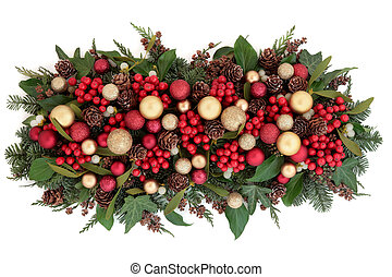 Christmas Decorative Display - Christmas red and gold bauble...
