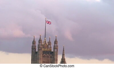 Westminster Palace London - The National British flag on top...
