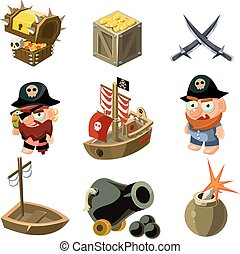 Pirate set. Vector illustration.