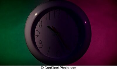 white Clock on color wooden plank wall, night Light - white...