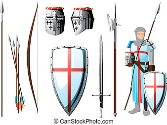 crusader set - collection of weapons and protective...