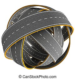 Tangle ball of road isolated