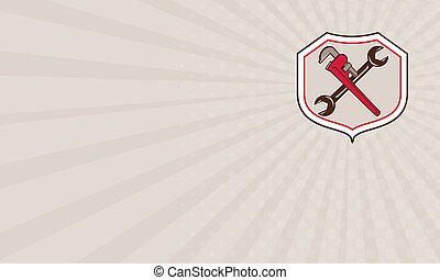 Business card Pipe Wrench Spanner Crossed Shield Cartoon -...
