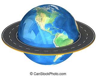 Globe and roads around it. - 3d Globe and roads around it....