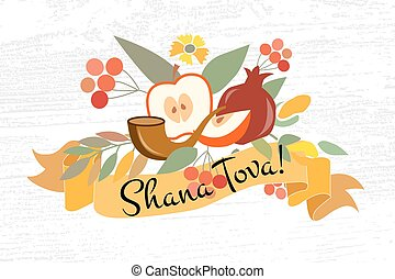 Vector collection of labels and elements for Jewish New Year...
