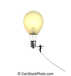 Businessman walking tightrope toward lightbulb shape hot air...