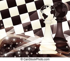 Chess banner with two pawn, vector
