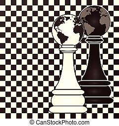 Chess earth pawn, vector illustration