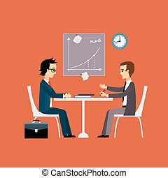 Business people, two men at the table negotiating Flat style...