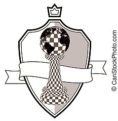 Coat of arms chess pawn, vector