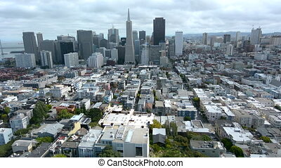 Aerial urban view of San Francisco financial center skyline...