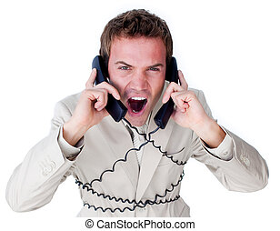 Stressed businessman tangle up in phone wires isolated on a...