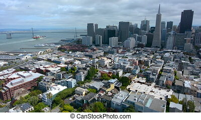 Aerial view of San Francisco financial center skyline .It's...