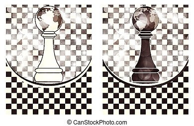 Set chess backgrounds, vector illustration